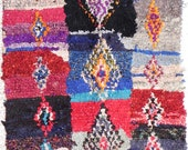 """Rag rug from Morocco called """" boucherouite or boucharouette """" berber tribal art"""