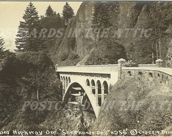 Shepherds Dell on Columbia Highway Oregon RPPC Vintage Real Photograph Postcard Early 1900s