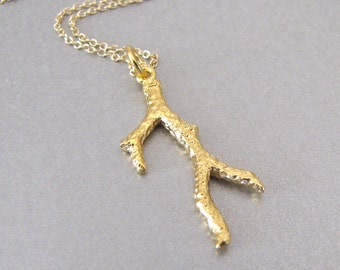 Gold Coral Branch Necklace