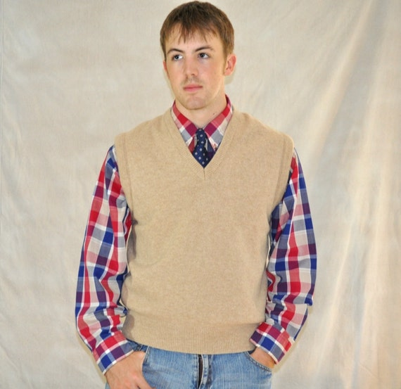 Mens Vintage Sweater Vest V Neck Pullover Medium Eveteam Homespunsociety