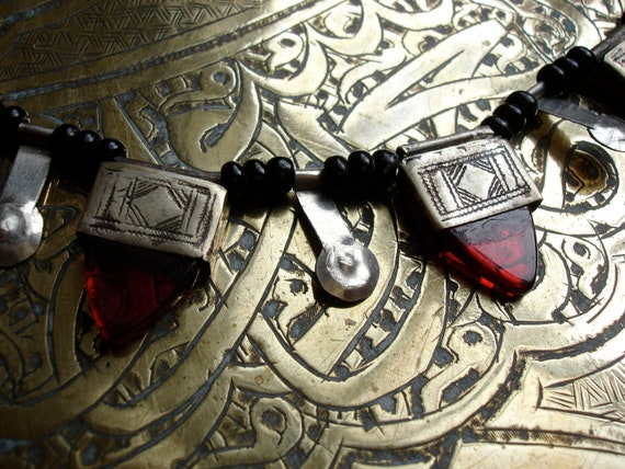 Niger Tuareg silver and red necklace