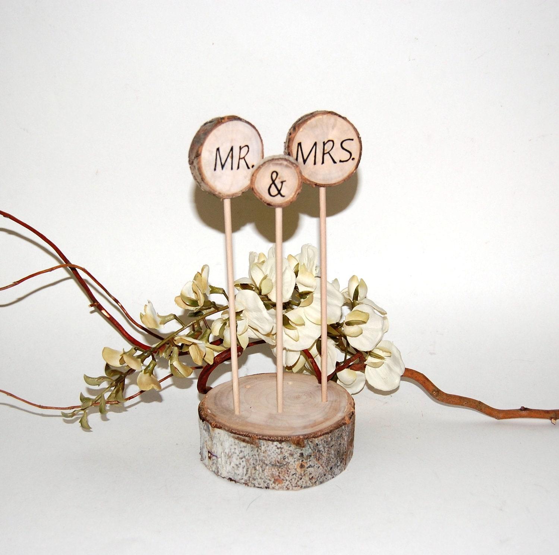 Rustic Cake Topper Aspen CAKE Decoration MR & MRS by