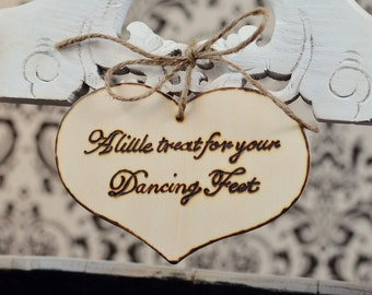 Rustic Wedding Reception Sign- A Little Treat for your Dancing Feet- flip flop shoes