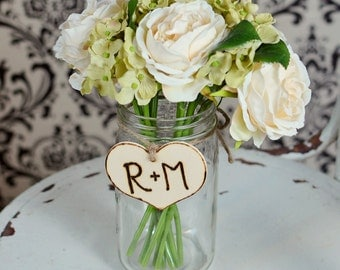 Personalized  Rustic Wood  Heart with Twine