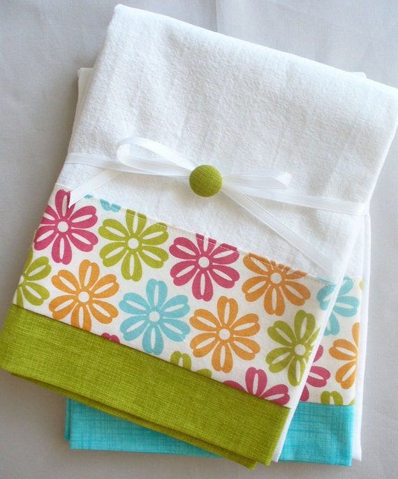 Kitchen towels daisy teal, green, orange and red cotton fabric accent - set of two flour sack towels