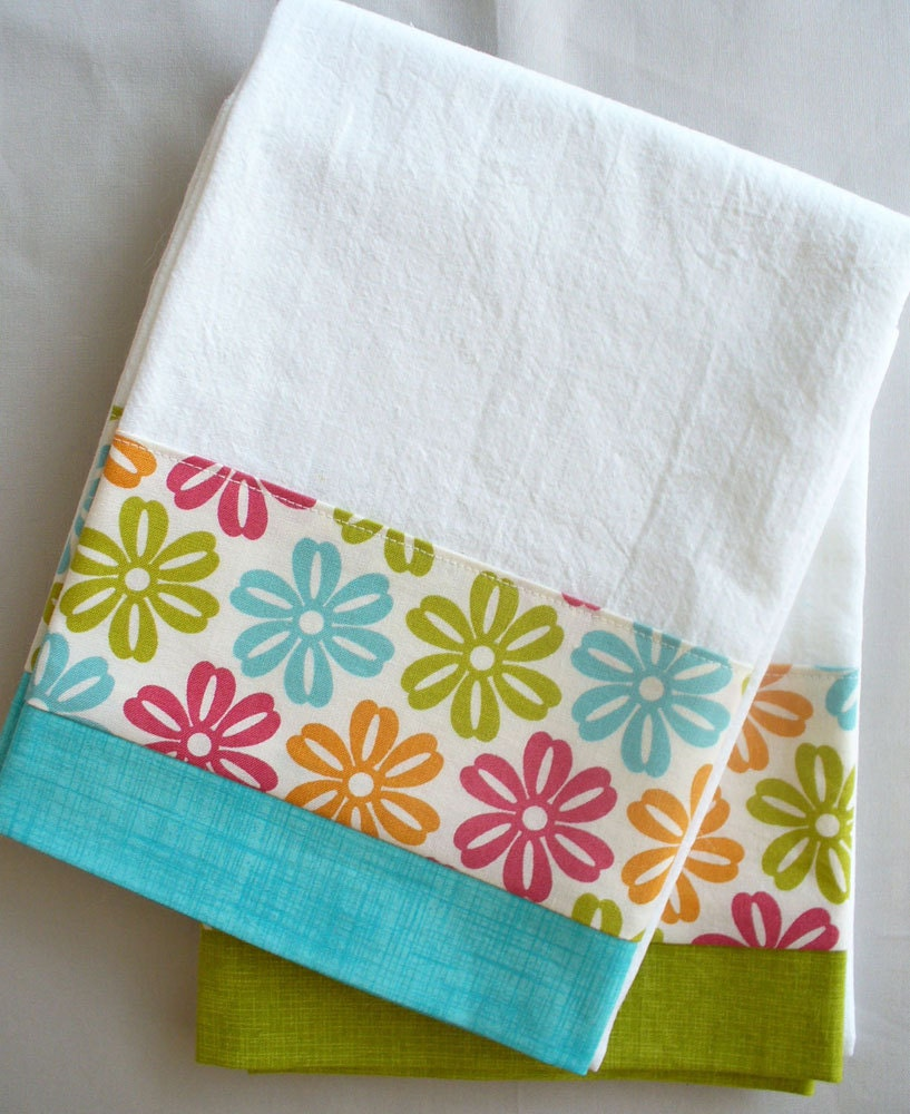 Teal And Red Yellow Orange Kitchen: Kitchen Towels Daisy Teal Green Orange And Red Cotton Fabric