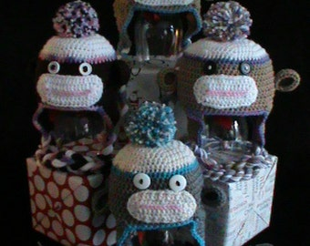 Custom Sock Monkey Hat - Crochet - NB to Adult