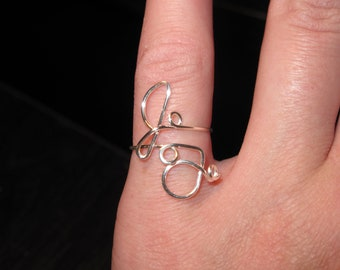 Wire Wrapped Your INITIALS Adjustable Ring MADE to ORDER