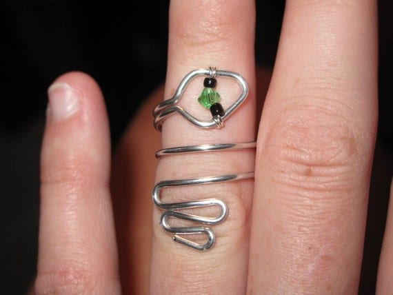 Wire Wrapped Snake Knuckle or Regular Size Ring With Tiny Little Eyes And A Crystal On Top Made to Order