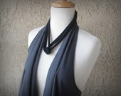 Jersey Vest & Scarf, Charcoal Gray, Cotton Tee Shirt, Women's Clothing