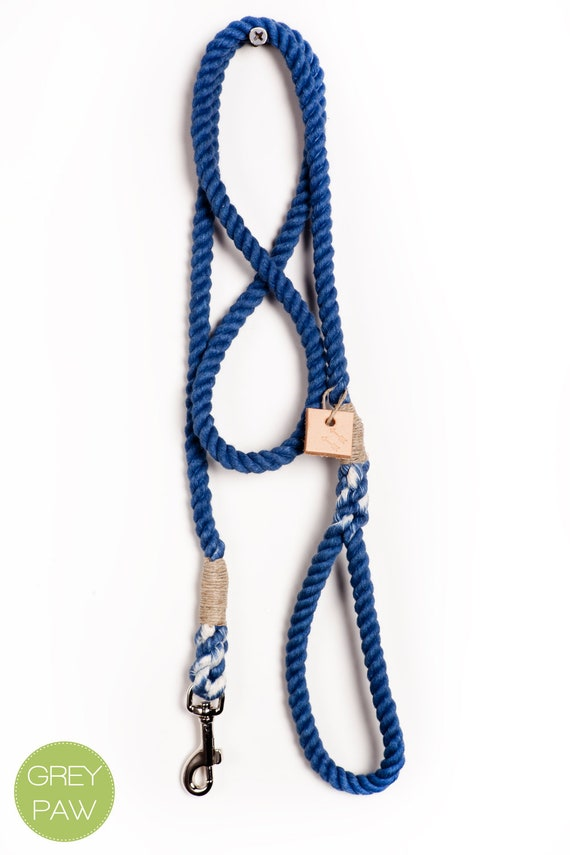 Dog leash dog collar pet accessory dog lead: Small or medium navy cotton rope leash