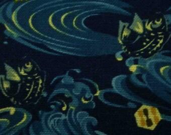 SALE - Fish in pond at night, dark blue, fat quarter, pure cotton fabric