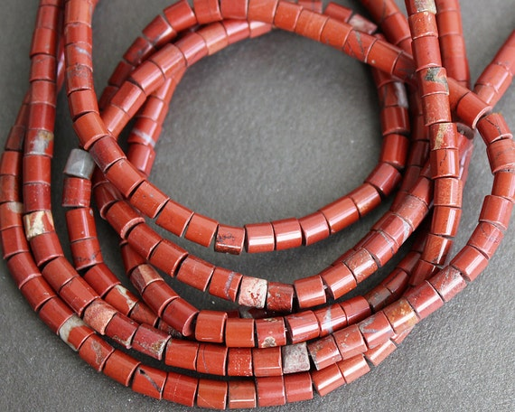 Red Jasper Tube Beads 4mm - FULL STRAND (15 Inches)