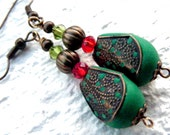 Cyber Monday sale Santa's Elves  antique Mother's day gift dangle drop cluster polymer clay emerald