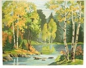 Vintage Paint by Number PBN Landscape Woodland Stream - Large 20 x 16 RESERVED for pueshel
