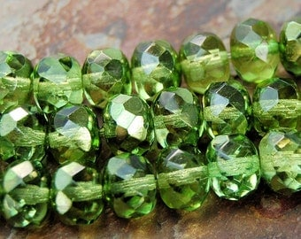 Czech Glass Beads Avocado Green Metallic Ice Puffed Rondelles 9x6mm- 7 inch strand