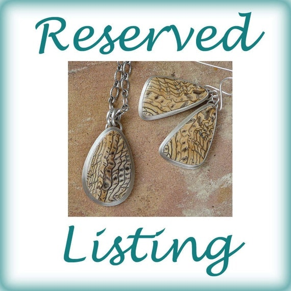 RESERVED for SK - Hells Canyon Petrified Sequoia Wood and Sterling Silver Necklace and Earwire Earring Set