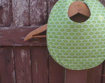 Bib for Boy or Girl - Baby/Toddler - Reversible Design - Green/Yellow Heather Bailey Print with Your Choice on Reverse