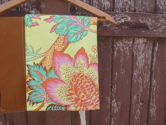 Changing Pad for Baby or Toddler Girl - Brown, Yellow and Multi-Color - Amy Butler Floral Print
