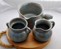Seagrove Pottery, Set of Three Pieces, Blue Glaze