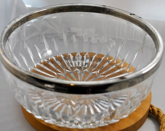 Glass Serving Bowl with Silver plate rim