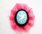 Unicorn Hot pink lace bow, Handmade bows, Unicorn Cameo Bow, Hot Pink Lace Bow, Hair Bows