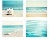 Beach Photography Set - Four 11x14, 8x10, 5x7 Photographs - ocean water seashell photo print sea aqua blue beige seashore coastal wall art