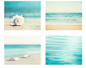 Beach Photography Set - Four 11x14, 8x10, 5x7 Photographs - ocean water seashell photo print sea aqua blue beige seashore coastal wall art