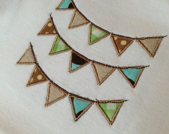 Instant Download . Triangle Bunting Banner Embroidery Applique Design