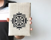 Case for iPad mini - Black and grey - Geometry - Tribal ornament - Hand embroidery