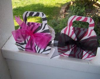Chic Zebra Print Purse Favor Boxes set of 10