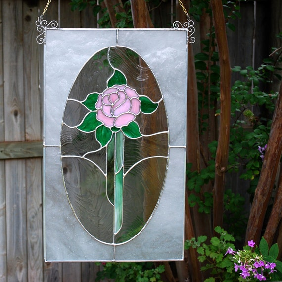 Stained Glass Panel  - Pink Rose