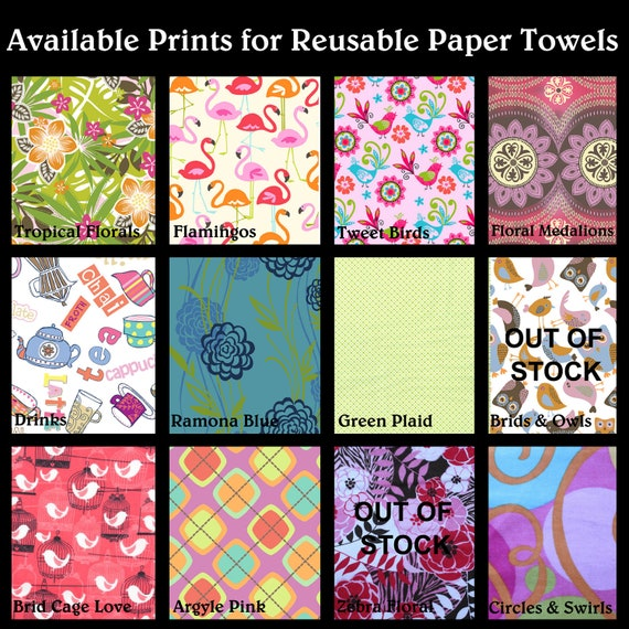 Reusable Paper Towels with Snaps - Set of 12 - You choose the fabric