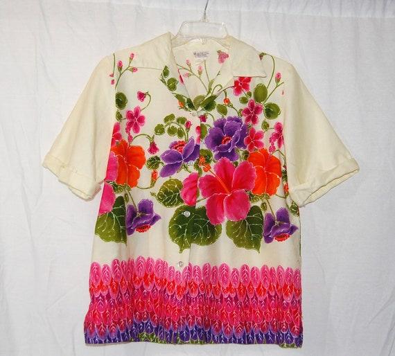Ladies Vintage 60s Super Bright Floral Hawaiian Shirt by Alu Lole L XL