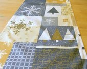 Modern Christmas Table Runner - Grey and Metallic Gold