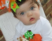 Over The Top Bow -- Pretty Little Pumpkin  -- orange and apple green