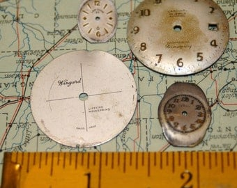 "Steampunk Watch Faces Vintage Antique Dials Parts Altered Art Industrial ""A"""