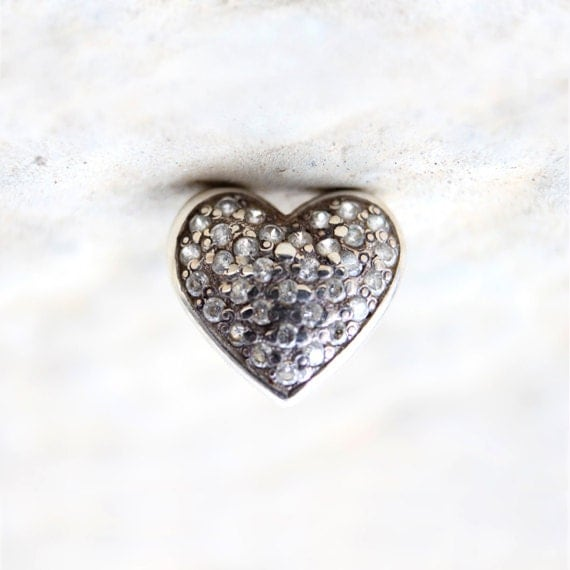 silver upside down heart photo with diamond encrusted charm