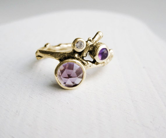 14K Yellow Gold Twig Ring with Double Amethyst and White Sapphire