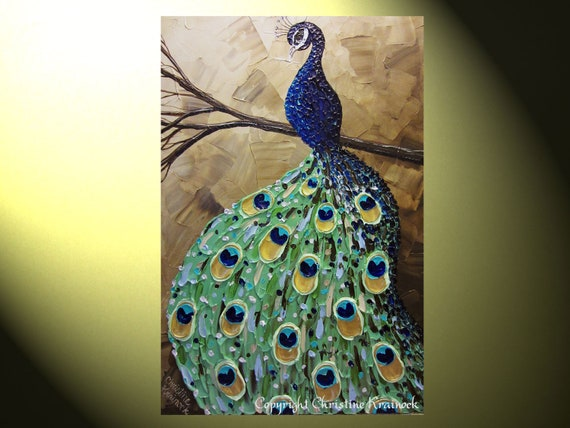 Original Art Abstract Painting Peacock Painting Modern