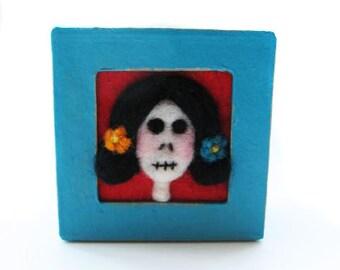 Day Of The Dead - Dia de los Muertos - Needle Felted Box - Mexico Folkart