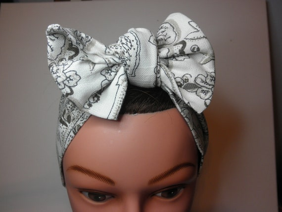 ReTRO  Dame BIGBOW Hair Wrap  - Rockabilly - Handmade  - Vintage 1940's Inspired--Buy 3 and get a Free BIGBow Wrap