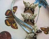 Vintage Enamel Butterfly With Rhinestones