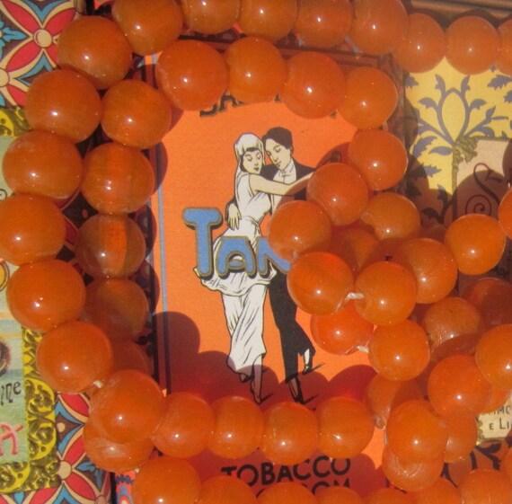 Exotic Tango Orange  Vintage  Glass  Beads