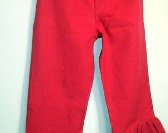 Girls Red Ruffle Pants Boutique Style Red Twill Ruffle pants Sizes 1T-8 Toddler