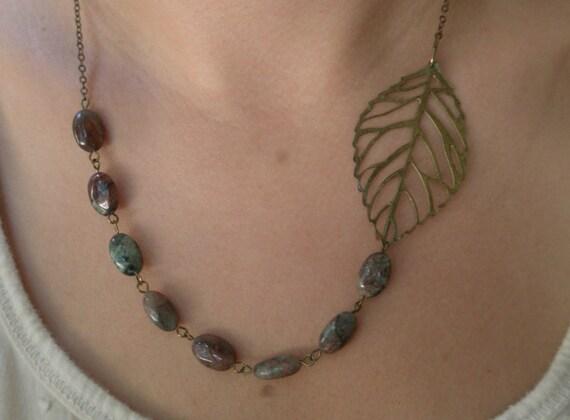 SALE Leaf bib necklace- Filigree bib necklace- Asymmetrical beaded necklace- Antique bronze necklace-Beaded necklace- Leaf- Green- Brown