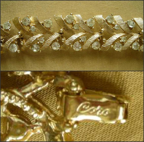 Vintage Coro Rhinestone and Goldtone Bracelet -1940s Articulated Stylized Leaves with Stone Berries - Coro Tesoro