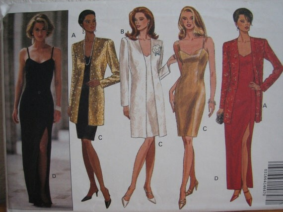Vintage Butterick Pattern 6481 Misses' Jacket & Dress In Two Lengths  1992  Uncut