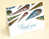 Spiral Seashell Thank You Notes, Nautical Stationery, Set of 8