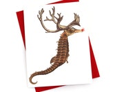Funny Christmas Card, Seahorse Reindeer Nautical Christmas Cards Set of 8 -